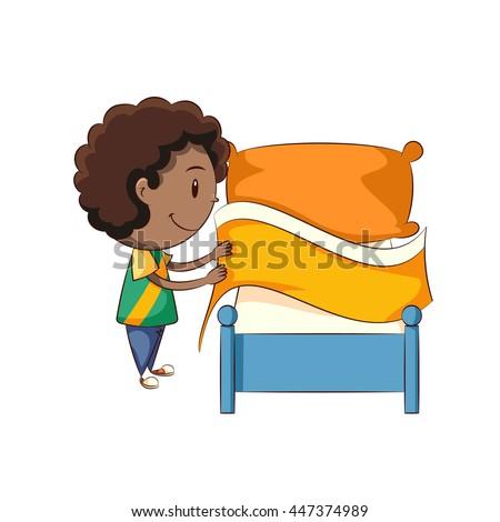 kid making bed stock vector 516335626 shutterstock