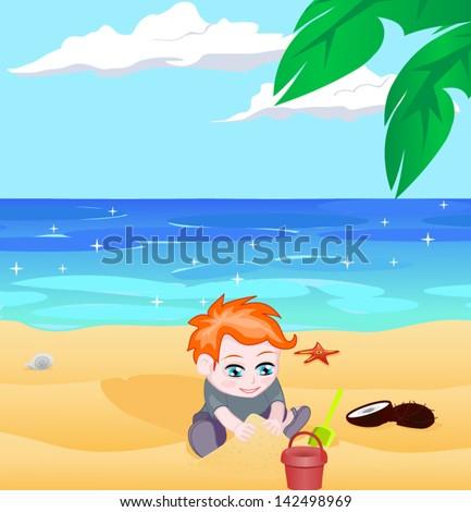 boy on a beach vector - stock vector