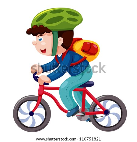 Boy on a bicycle vector - stock vector