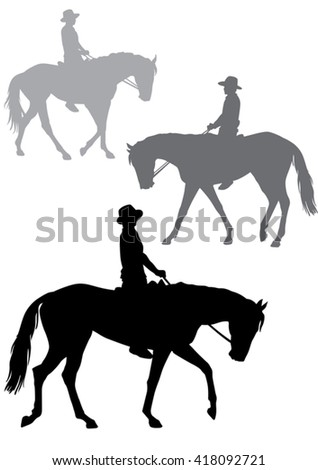 Boy on horseback. Man in a cowboy hat sitting in the saddle. Horse-riding trips.  Horse walks quietly. Silhouette on a white background.