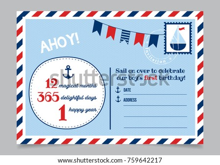 Boy one year birthday invitation marine stock vector 759642217 boy one year birthday invitation marine postcard stopboris Gallery