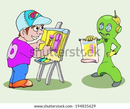 boy painting an alien - stock vector