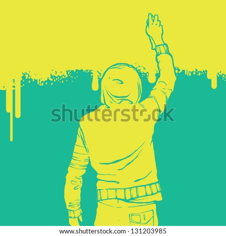 boy paints the wall. graffiti style - stock vector