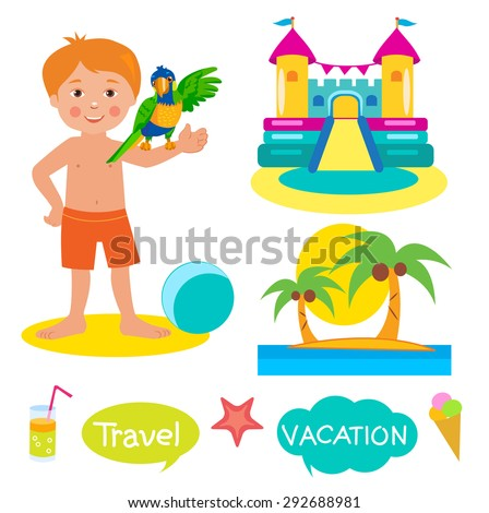Boy, Parrot, Bouncy Castle And Palms. Set Vacation, Tourism Icons And Balloons With Text: Vacation, Travel. Cartoon Illustrations On A White Background. Bouncy Castle Rental. Bouncy Castle For Sale. - stock vector