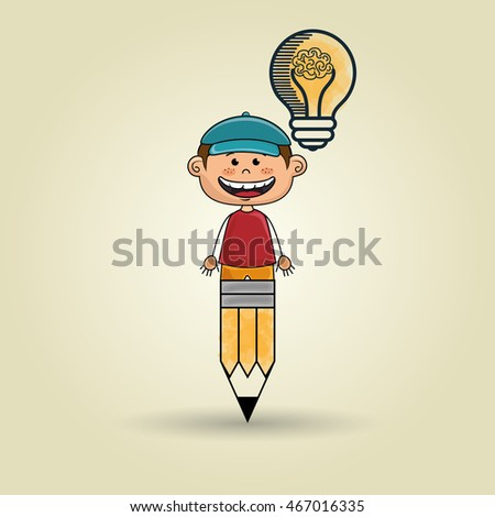 boy pencil idea icon vector illusration graphic
