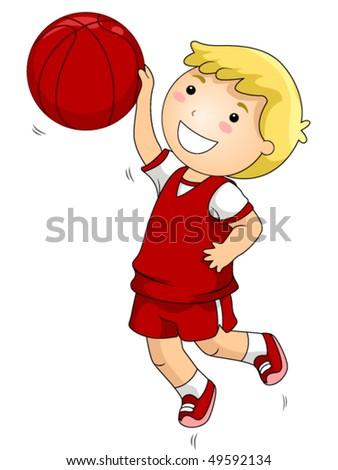 Boy Playing Basketball - Vector - stock vector