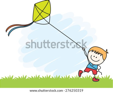 Boy playing kite - stock vector