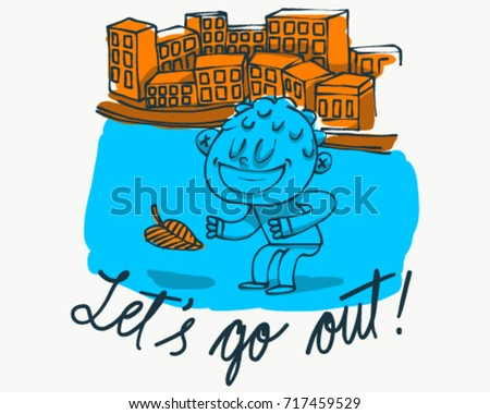 Boy playing outside with a leaf and buildings cartoon