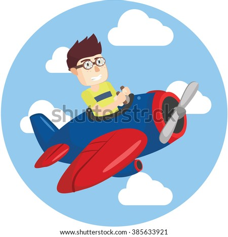 Boy playing plane - stock vector