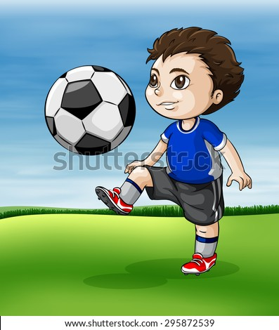 Boy playing soccer in the green field - stock vector