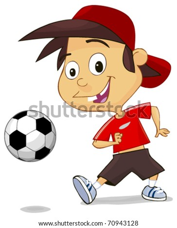 boy playing soccer isolated on white background - stock vector