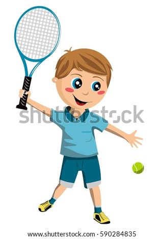 Boy playing tennis isolated