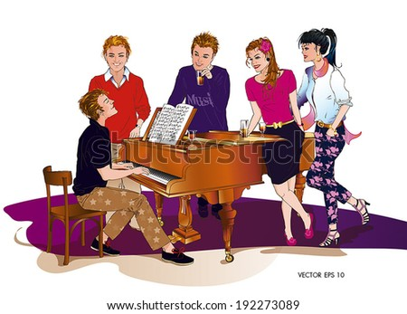 Boy playing the piano, singing with 4 happy friends,2 girls and 2 boys, by drinking and having fun. Colorful. Grand piano.Without Background. isolated. - stock vector