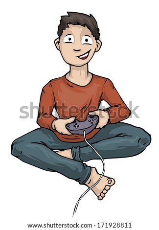 Boy Playing Video Computer Game Holding Controller, vector illustration - stock vector