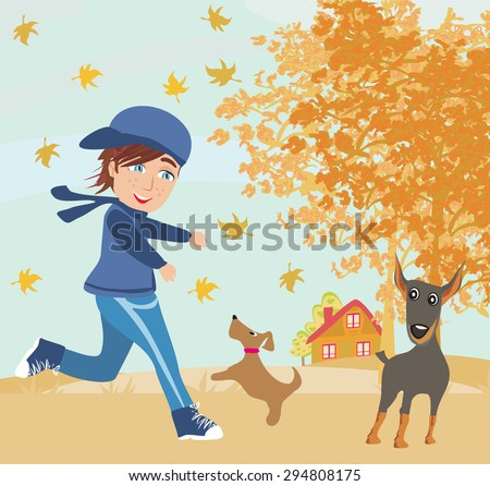 boy playing with his dogs in autumn  - stock vector