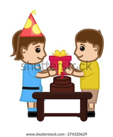 Boy Presenting Gift to Birthday Girl - stock vector