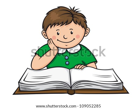 Boy reading a book in library. Vector illustration - stock vector