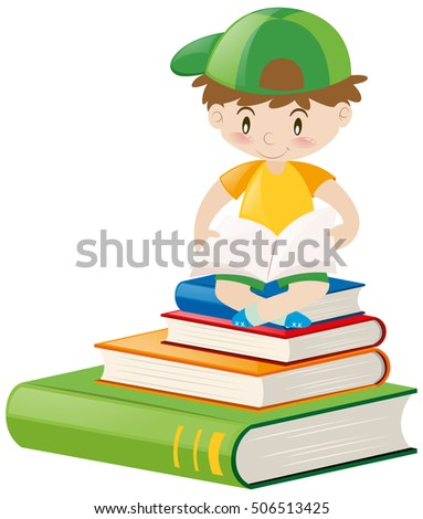 Boy reading book alone illustration