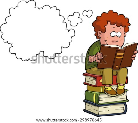 Boy reading on a stack of books vector illustration - stock vector