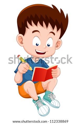 Boy reading open book - stock vector