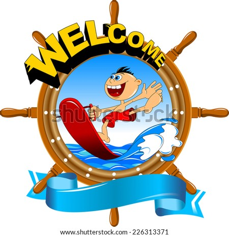 boy riding a water board, vector and illustration - stock vector