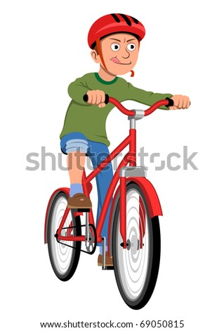 Boy riding bicycle - stock vector