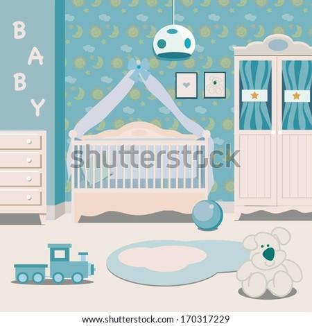 Boy room - stock vector