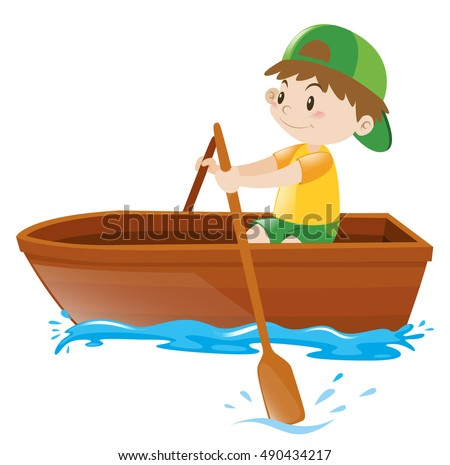 Boy Rowing Wooden Boat Stock Vector HD Royalty Free 490434217