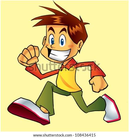 boy running - stock vector