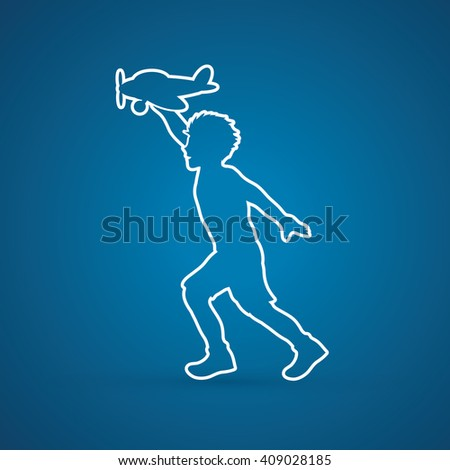Boy running with plane toy outline graphic vector.