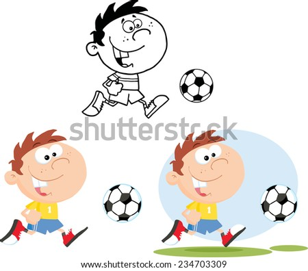 Boy Running With Soccer Ball. Vector Collection Set