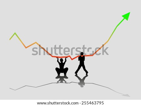 Boy's holding falling graph - stock vector