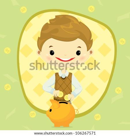 boy saving money in his piggy bank -design element - stock vector