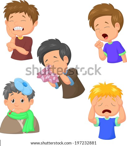Boy sick cartoon collection - stock vector