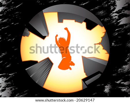 Boy silhouette jumping higher than city skyscrapers over grungy background - stock vector