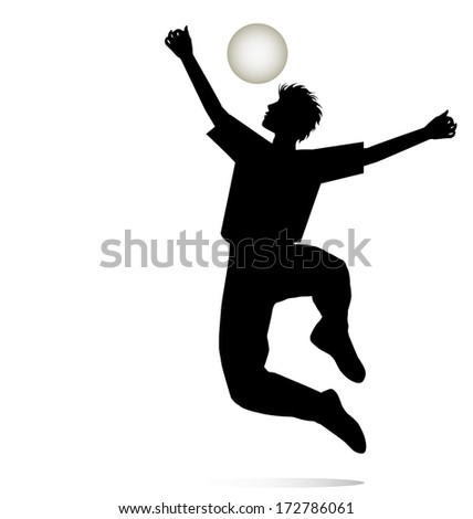 boy silhouette who rejoices playing with the ball