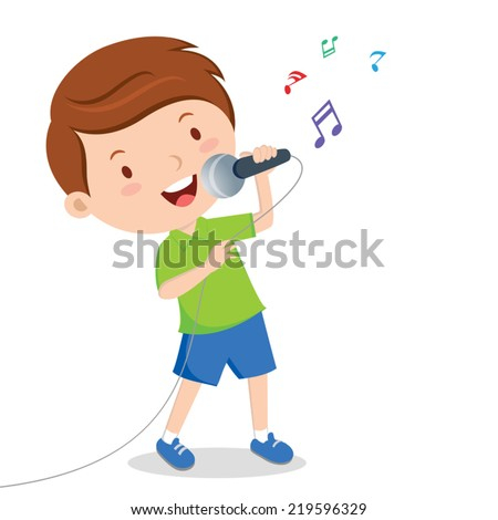 Boy singing. Little boy singing with microphone in his hand. - stock vector