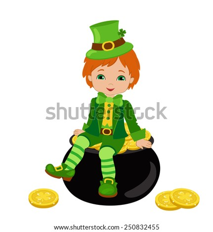 Boy sitting on a pot of gold at the Irish costume, isolated on a white background. Vector illustration. St. Patrick's Day. - stock vector