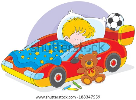 Boy sleeping - stock vector
