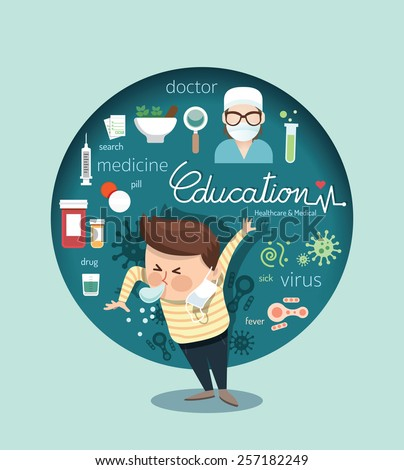 Boy sneeze health care and medical with virus design infographic,people learn concept vector illustration - stock vector