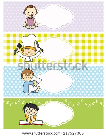 boy stickers. space for text