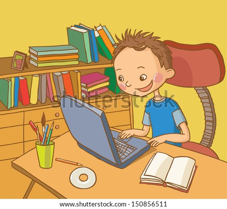 Boy studying in his room, library. School activities. Back to School isolated objects on white background. Great illustration for a school books and more. VECTOR. - stock vector