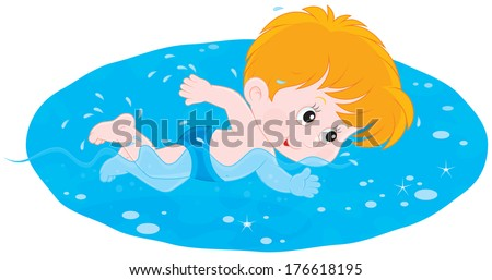 Boy swimming - stock vector