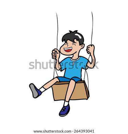Boy swinging outdoor cartoon vector - stock vector