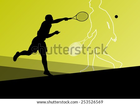 Boy tennis players active sport silhouettes vector abstract background illustration - stock vector