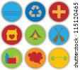 Boy Themed Merit Badges - stock vector