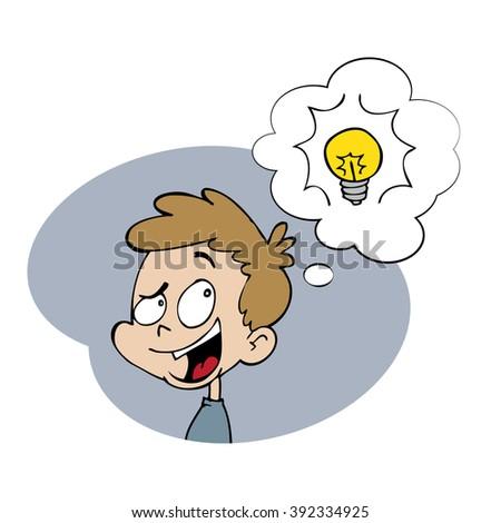 Boy thinking and having an idea - stock vector