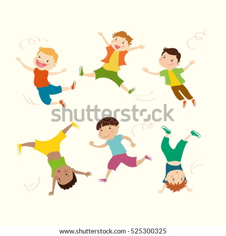 Boy vector mascot in 6 action poses,cartoon vector illustration