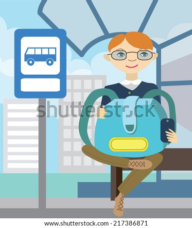 Boy waiting for school bus. Back to school (vector illustration, flat concept) - stock vector