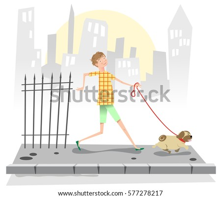 Boy walking a pug on a sidewalk, background with city (vintage Fifties illustration)